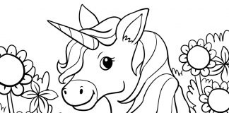 unicorn coloring page for kids - thumbnail