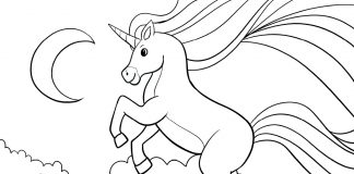 unicorn in clouds - coloring sheet - thumbnail