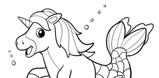 unicorn mermaid coloring page - thumbnail ver 1