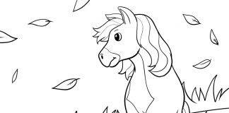 wild horse coloring page - thumbnail